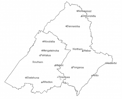 Map showing which towns are in the North and South Wards